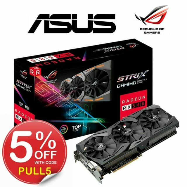 ASUS Gaming Graphics Card Mining AMD Radeon RX 580 ROG Strix 8GB TOP GDDR5 HDMI