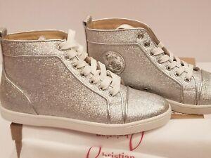 New-Christian-Louboutin-Bip-Bip-Orlato-Flat-High-Top-Sneakers-Silver-Woman-39