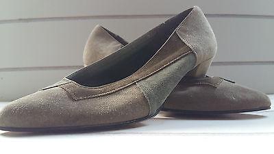 Vintage década de 1980 Verde Zapatos De Gamuza por Dolcis. Talla 4.
