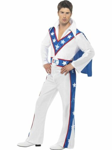Evel Knievel 1970s Mens Fancy Dress Costume  Daredevil Stuntman