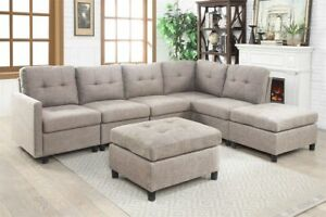 Details about Grey Linen L-Shape Reversible Chaise Sectional Modern Sofa  Set Couch Microsuede