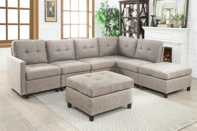 L-Shape Leather Reversible Sectional Sofa Set 3 Seat Couch Chaise ...