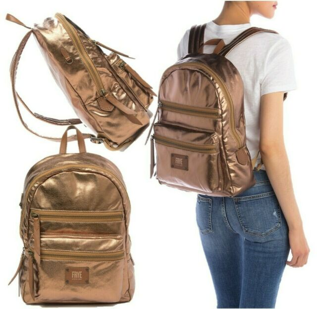 Frye Ivy Large Nylon Leather Top Zip Backpack Shoulder Bag Tan Brass $198 NWT