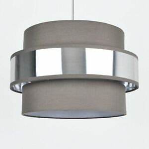 Easy-Fit-2-Tier-Grey-Fabric-amp-Brushed-Silver-Plated-Banded-Ceiling-Shade