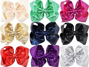 XL-LARGE-LADIES-GIRLS-8-034-INCHES-SEQUIN-SPARKLE-METALLIC-HAIR-CLIP-RIBBON-BOW-UK