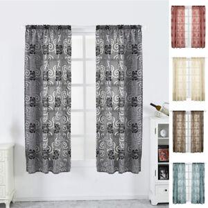 Half Short Tulle Drapes Peony Window Curtains Kitchen Bedroom Bathroom Decor Uk Ebay