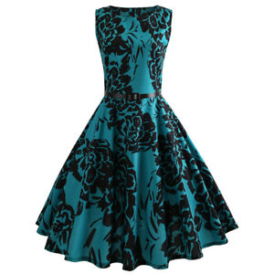 Women-Vintage-Floral-Dress-Sleeveless-Rockabilly-Party-Cocktail-Swing-Dress-50s