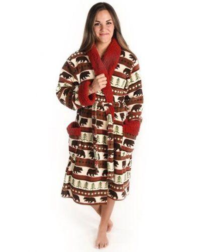 Men/'s Adult Bathrobe Faux Sheepskin Trim Dressing Gown Lazy One Ladies
