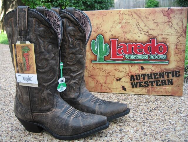 164a018add4 NEW Ladies Laredo Access Black Tan Leather Wide Calf Western Cowboy Boots  51079