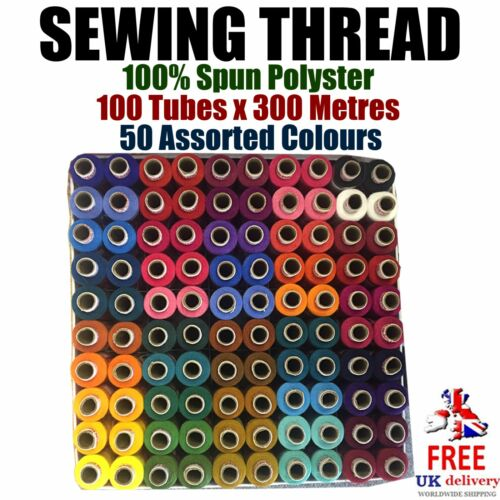 100/% Spun Polyester 300m Tubes. 100 pcs Sewing Thread 50x Assorted Colours