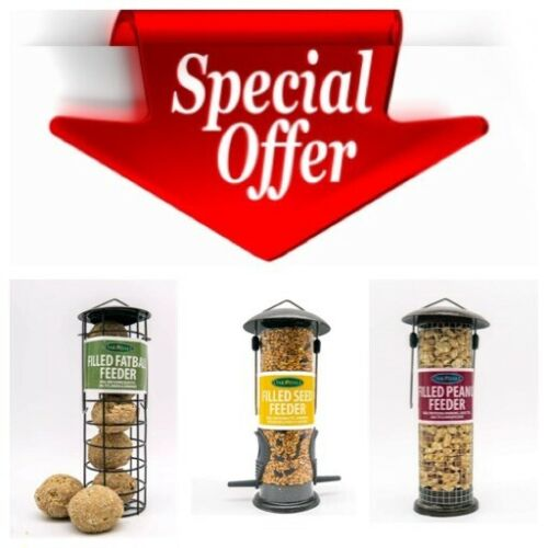 3x Oakdale Wild Bird Feeders Pre-Filled with Premium Seed Peanuts and Fat Balls