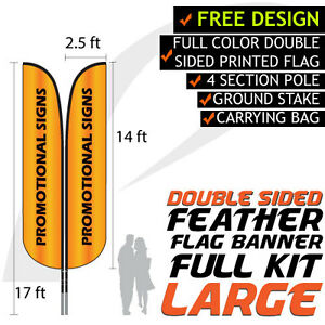 Details about 17FT Full Color Feather Double Sided Custom Flag Banners  w/Fiberglass Pole kit