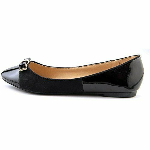 Wanted Barbie Black Patent Vegan Suede Fashion Gold Bow Flats