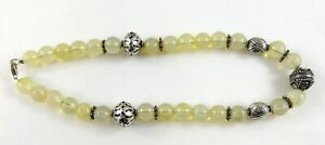 Sterling-Silver-Art-Glass-Bead-Strand-Necklace-925-Artisan-Pale-Yellow-Vaseline