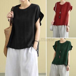 Women-High-Low-Asymmetrical-Tops-T-Shirt-Summer-Holiday-Baggy-Shirt-Blouse-Plus