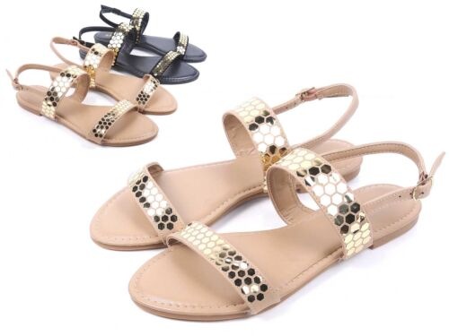 Natural Color Fashion Open Toe 2 Straps Slingback Womens Flats Sandals Size 7