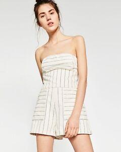 f14d29620e Image is loading Zara-Striped-Denim-Jumpsuit-PLAYSUIT-ROMPER-Strapless-Sz-