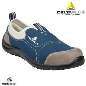 b950b4ae195 Details about Delta Plus Miami S1P Mens Blue Canvas Slip On Steel Toe  Safety Trainers Shoes
