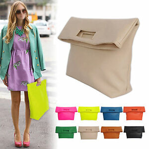 NEW-WOMEN-039-S-HANDBAG-MESSENGER-COLORFUL-FOLD-OVER-CLUTCH-TOTES-EVENING-BAG-PURSES