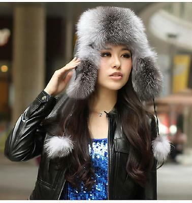 Pop Women 100% Real Genuine Fox Fur Hat Cap Headwear Bomber Ushanka Winter Gray