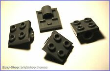 Lego 4 x Platten (2 x 2) mit Loch grau - 2444 - Dark Bluish Gray - NEU / NEW