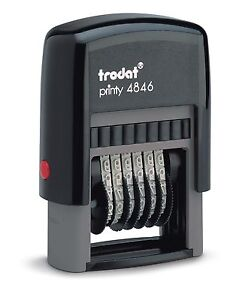 Trodat Manual Numberer Self Inking Rubber Stamp 6 Bands Numbers & Symbols 4846