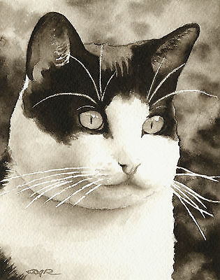 Black and White Tuxedo Cat Art Print Sepia Watercolor Painting by Artist DJR