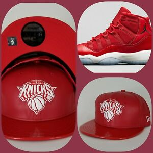 New Era New York Knicks Red Faux Leather snapback hat Jordan 11 Gym Red