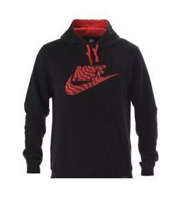 para 010 861726 negro talla Nwt Nike Sudadera Xl Fleece color rojo capucha con hombre wxvHSTI