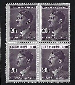 Neuf Sans Charnière Stamp Block/adolph Hitler/20kr/1942 Occupation Allemande/troisième Reich-afficher Le Titre D'origine