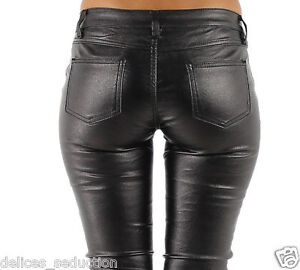 Trousers Skinny Woman Slim Jeans Strechy Black Leather shiny Size
