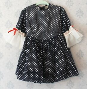 Vintage-1960s-Navy-Blue-Red-and-White-Polka-Dot-Young-Girl-039-s-Dress
