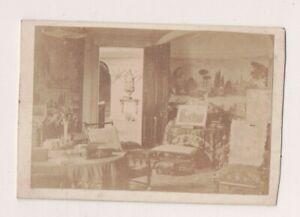 Vintage CDV Dessin Salle Rose Moulin Anglais Stately Maison