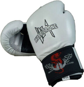 16 oz Leather Boxing Gloves White /& Black NEW Muay Thai Kickboxing MMA UFC