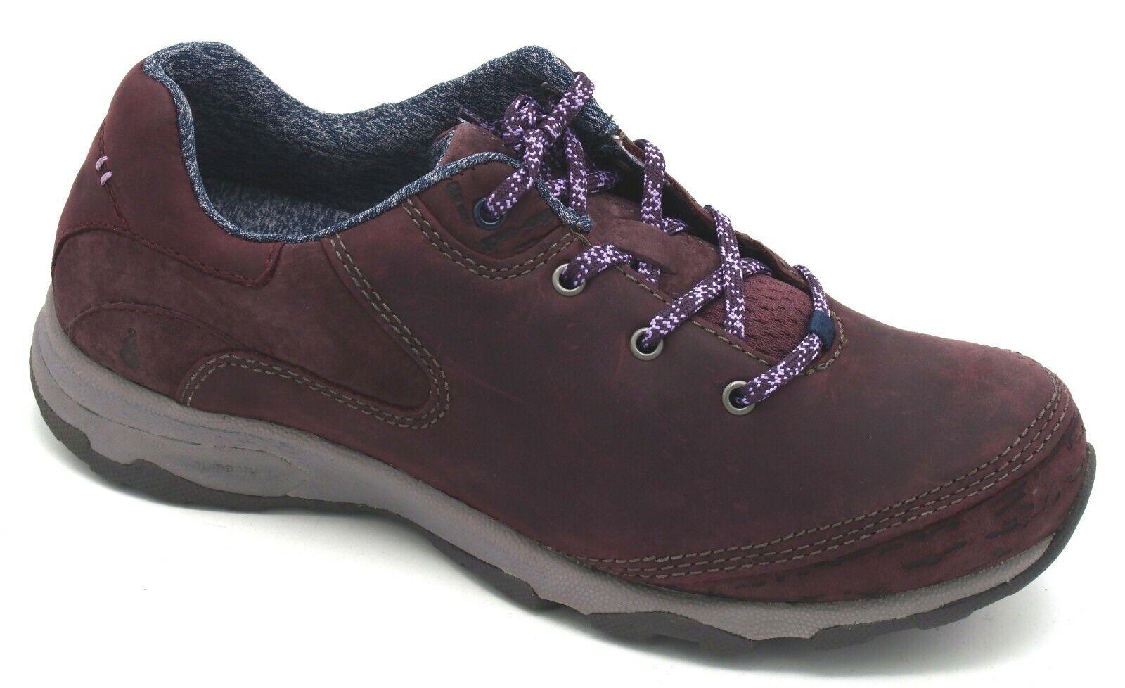 J8035 New Womens Ahnu Sugar Venture Leather Lace Up Walking shoes Dark Plum 7.5 M