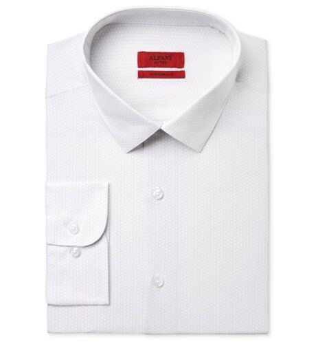 $95 ALFANI Men FITTED STRETCH WHITE GRAY LONG-SLEEVE DRESS SHIRT 16-16.5 34//35 L