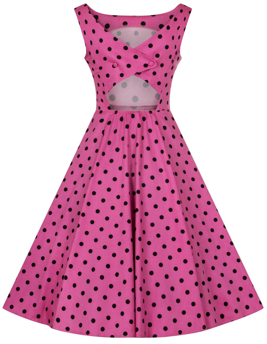 Hearts & & & rosas Rhiannon Polka Dots punti Vintage Swing Abito rosa Rockabilly f8df35