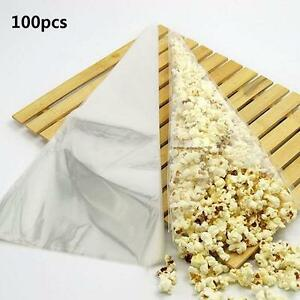 100pcs-Clear-Cellophane-Cone-Bag-Sweet-Candy-Flower-Packing-Birthday-Wedding-SA