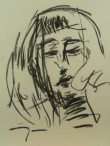 JOSE-TRUJILLO-EXPRESSIONISM-ORIGINAL-CHARCOAL-DRAWING-Portrait-MODERN-SIGNED