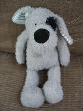 KEEL TOYS GREY PUPPY DOG SOFT FLOPPY TOY BLUE STRIPE EARS BLACK EYE PATCH & TAIL