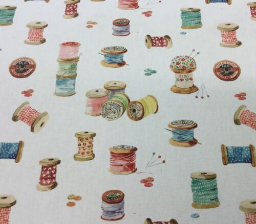 "Clarke+Clarke SEWING ""Bobbins""Digital Print Cotton Fabric.Curtains//Upholstery."