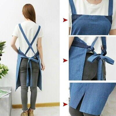 Damen Baumwolle Jeans Schürzen Unisex Laden Küche Restaurant Work Latz Pinafores