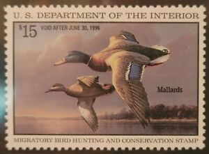 Scott#: RW62 - Mallards In Flight $15 MNH OG XF90 w/PSE Cert