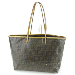 Image is loading Fendi-Tote-bag-Zucca-Green-Black-Woman-Authentic- 76102a7d54fbf