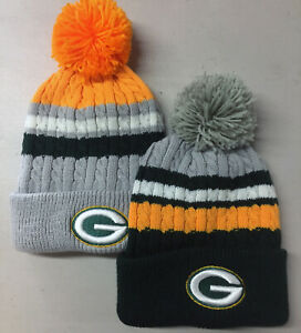 Green-Bay-Packers-Pom-Pom-Beanie-Skull-Cap-Hat-Embroidered-GB