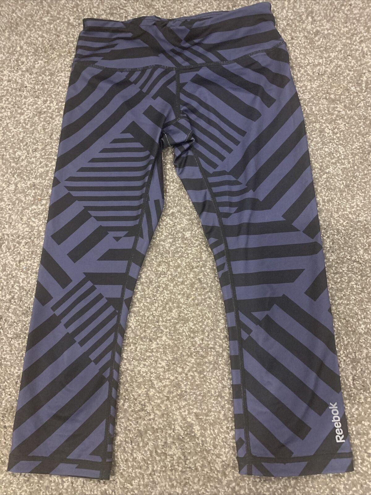 Reebok Leggings Size XS Workout Athletic Black And Gray/Blue Geometric Capri