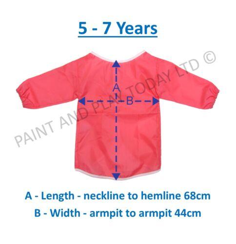 Age 5-7 Years Childrens Kids Waterproof Apron Smock Painting Art Craft Pink