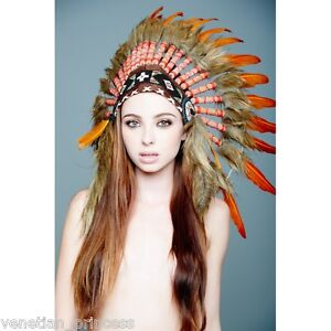 Image Is Loading Orange Feather Native American Indian Headdress Coachella SH016