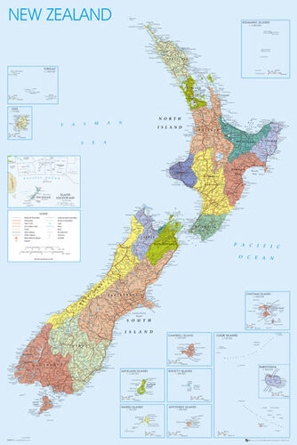 Cities, Regions, Geography, etc. Wall Map of NEW ZEALAND Full-Sized Poster