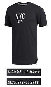 2019 DernièRe Conception New Adidas Men's Tops Elevate Nyc/lax Graphic Cotton Crew Neck T-shirt Circulation Sanguine Tonifiante Et Douleurs D'ArrêT